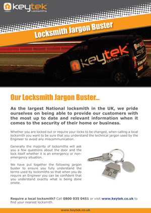 Download Keytek's Locksmith Jargon Buster