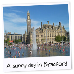A sunny day in Bradford City Park with a clear view of City Hall. Taken by Flickr user:Tim Green aka atouch on Saturday the 8th of September 2012.