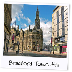A sunny day in Bradford City with a clear view of Bradford Town Hall