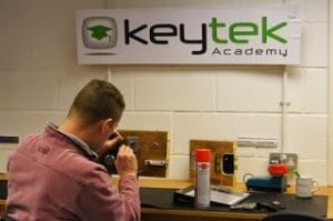 Student training at the Keytek Locksmith Training Academy